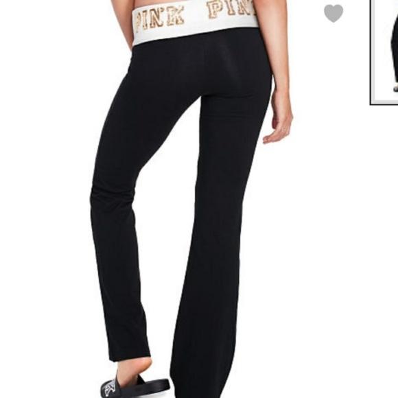 5856e963857 VS Pink BLING Yoga Pants Boot Cut Flare Band Gold